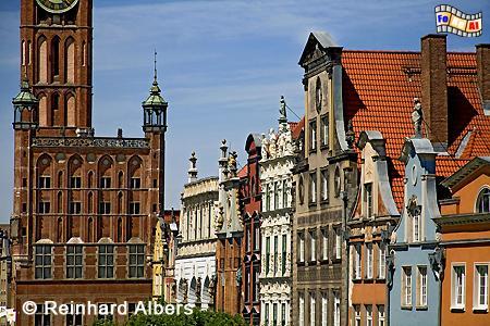 Bürgerhausfassaden am Langen Markt, Długi Targ., Polen, Danzig, Gdańsk, Długi, Targ, Langer, Markt, Rechtstadt, Albers, Foto, foreal