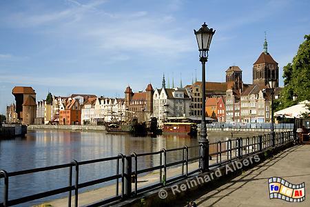 Mottlau-Ufer Stadtpanorama, Polen, Danzig, Gdańsk, Lange Brücke, Długi, Pobrzeże, Krantor, Mottlau, Albers, Foto, foreal