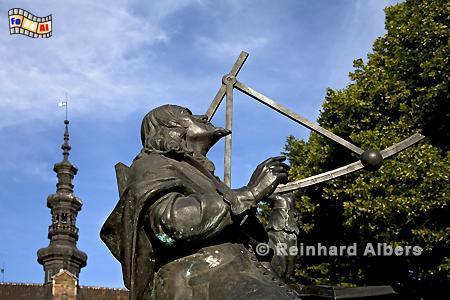 Denkmal für Jan Hevelius vor dem Rathaus in der Altstadt, Polen, Danzig, Gdańsk, Hevelius, Altstadt,