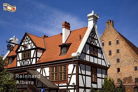 Das wiederaufgebaute Müllerhaus bei der Gro0en Mühle., Polen, Danzig, Gdańsk, Altstadt, Große Mühle, Radaune, Albers, Foto, foreal