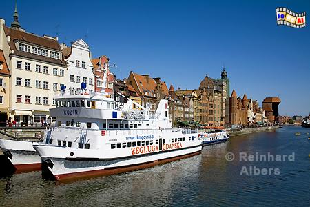Gdańsk (Danzig) - Długi Pobrzeże (Lange Brücke)., Polen, Danzig, Gdańsk, Lange Brücke, Długi, Pobrzeże, Krantor, Mottlau, Albers, Foto, foreal,