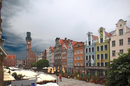 Der Długi Targ (Langer Markt) bildet das Herzstück der historischen Rechtstadt., Polen, Danzig, Gdańsk, Długi, Targ, Langer, Markt, Rechtstadt, Albers, Foto, foreal,