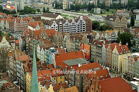 Gdańsk (Danzig) Blick vom Turm der Marienkirche Richtung Langer Markt., Polen, Danzig, Gdańsk, Rechtstadt, Ausblick, Marienkirche, Albers, Foto, foreal