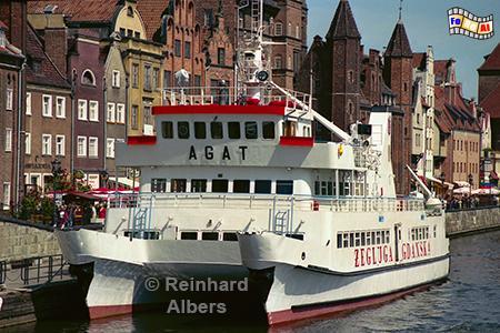 Gdańsk (Danzig) - Długi Pobrzeże (Lange Brücke) Ausflugsschiff, Polen, Danzig, Gdańsk, Lange Brücke, Długi, Pobrzeże, Krantor, Mottlau, Albers, Foto, foreal