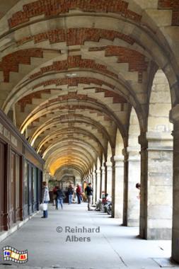 Arkaden am Place des Vosges., Paris, Place, Vosges, Marais, Albers, Foto, foreal,