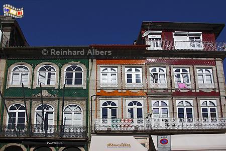 Guimarães - Hausfassaden in der Altstadt., Portugal, Minho, Guimarães, Kulturhauptstadt, Altstadt, Albers, Foto, foreal,